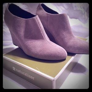Grey suede heeled booties